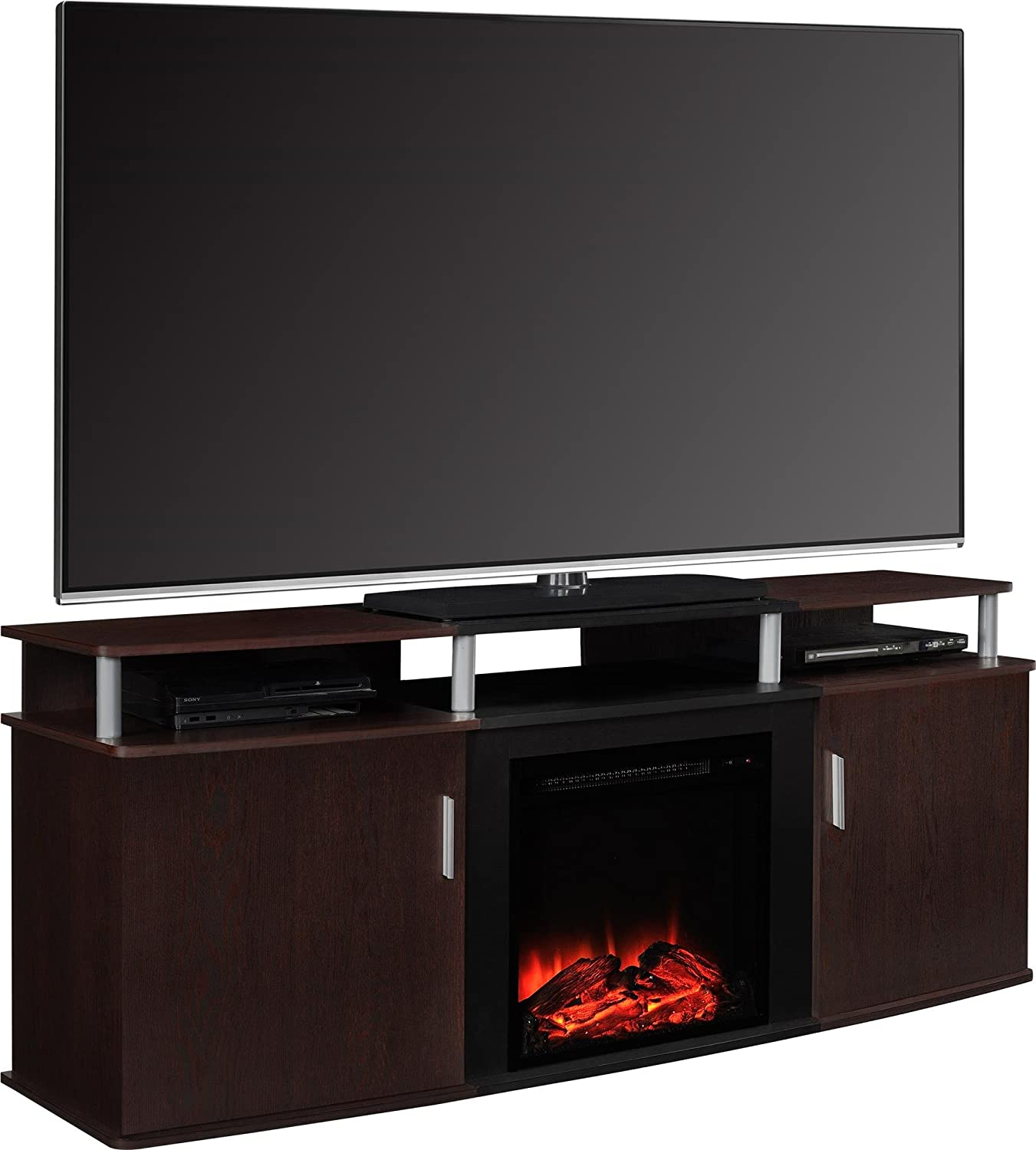 "Ameriwood Home Carson Electric Fireplace TV Console for TVs up to 70"",  Cherry"