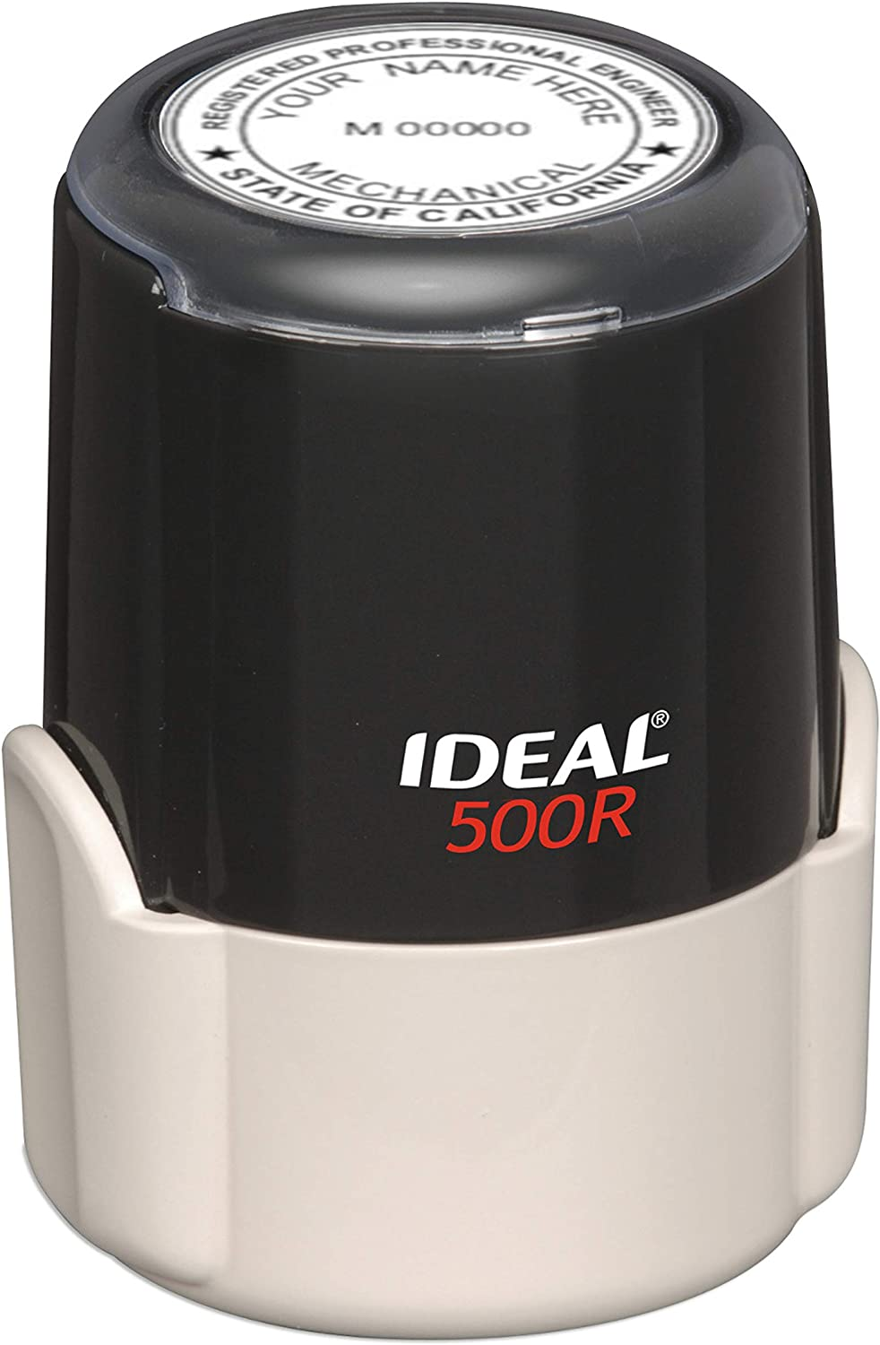 HUBCO Ideal 500R Professional Engineer Seal Stamp (1.75-inch Image Size, Black) | California