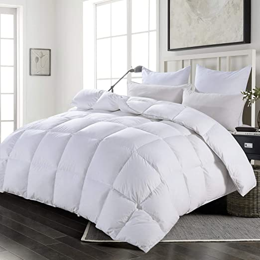 HOMBYS Oversized King Down Comforter 116 x 108 inches -Super King Duvet Extra Large Goose Down Feather Comforter 100% Cotton Cover -Down Proof with 8 Corner Tabs California King Duvet All Season White