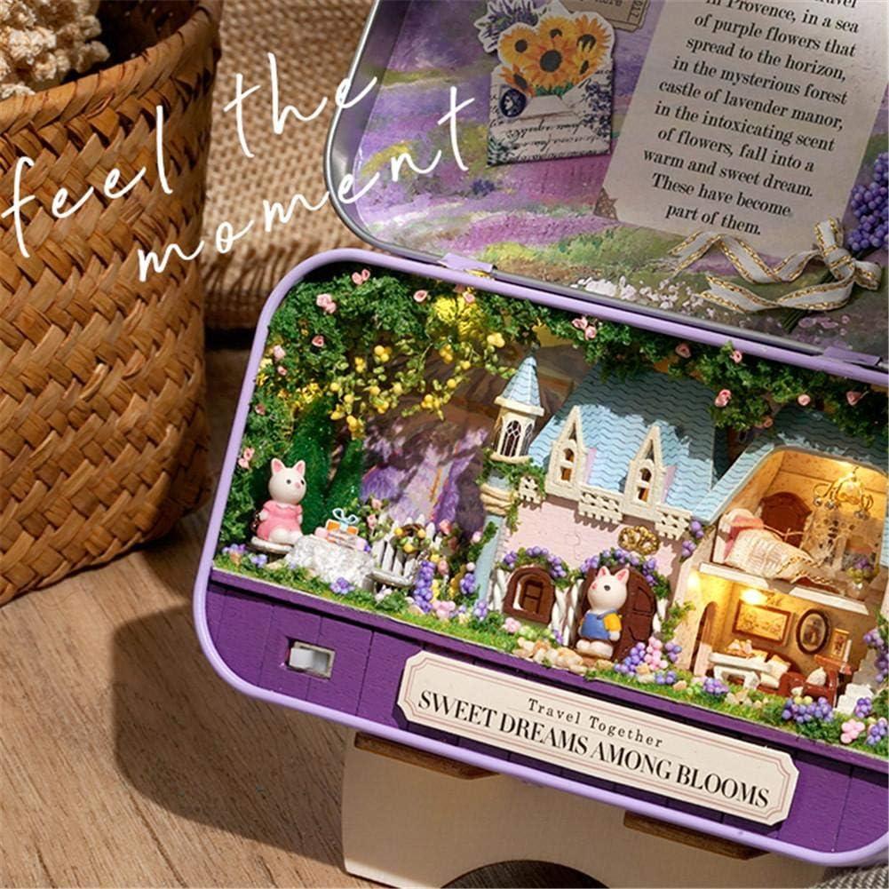 Blentude DIY Dollhouse Kit montiert Spielzeug Theater Box Miniatur-Haus mit M/öbeln