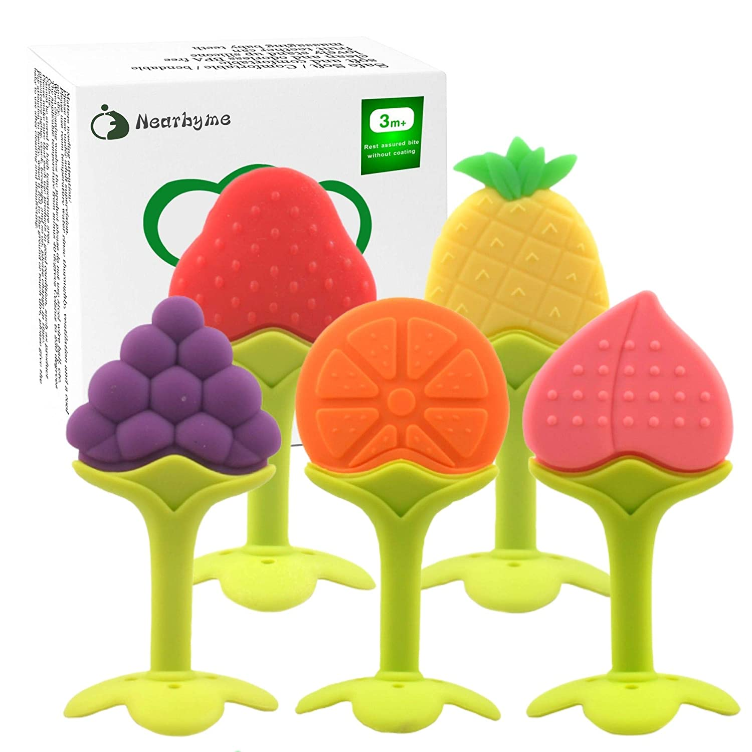 Nearbyme Baby Teething Toys, Soft Silicone Fruit Teether Set with Pacifier Clip / Holder for Toddlers & Infants, 5 Pack