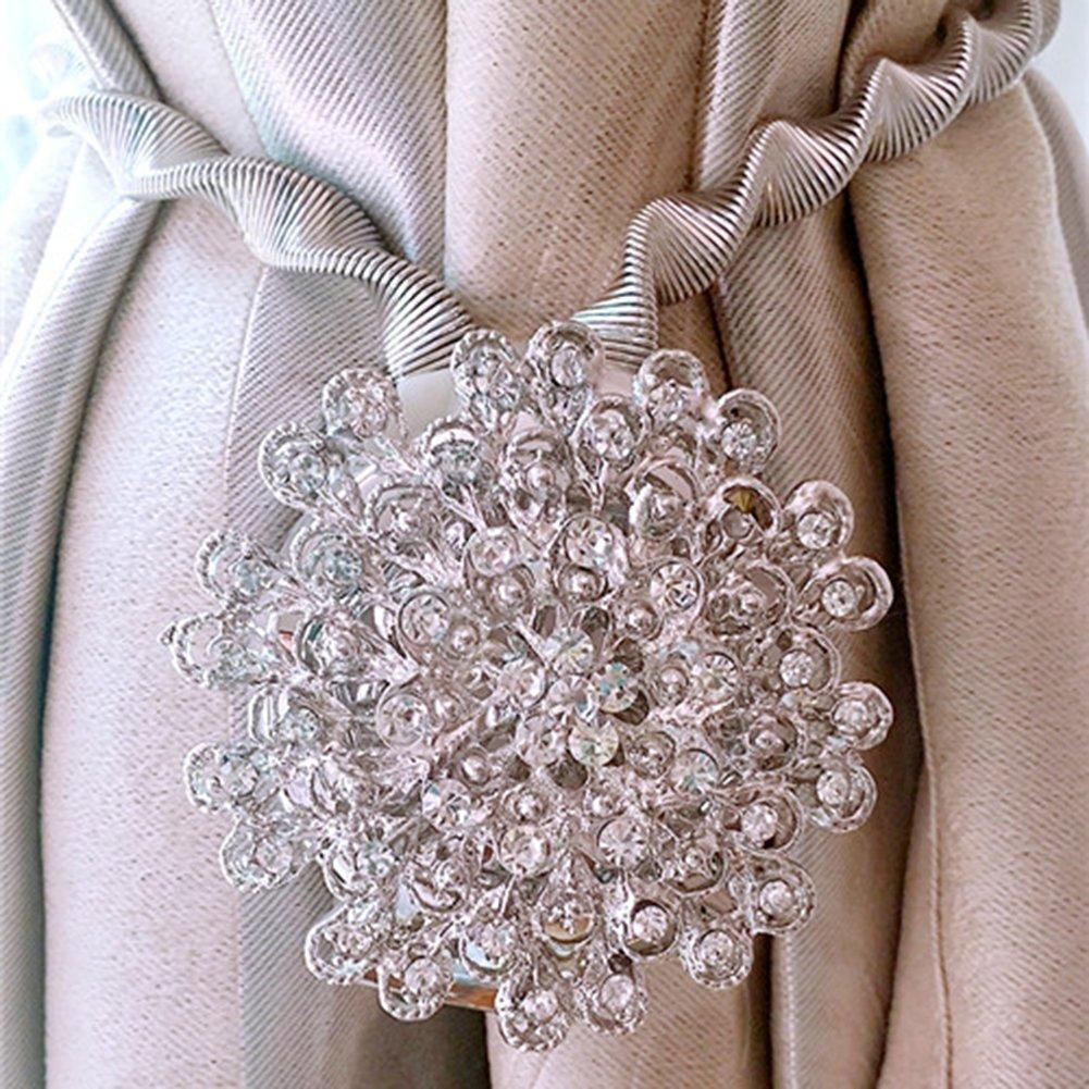 LianLe 1PC Magnetic Curtain Clips Tiebacks Curtain Holdbacks Buckle European Style , Silver