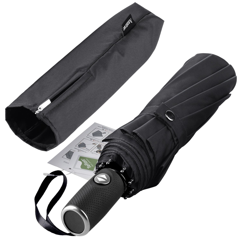 Travel Umbrella Windproof, Auto Open Close Compact Umbrellas for Women and Men Teflon Coating with 10 Rib Construction, Zipper Pouch (Black)