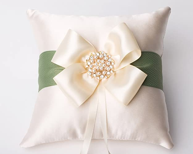 Amazon.com: Champagne Wedding Ring Pillow, Bow Ring Bearer Pillow ...