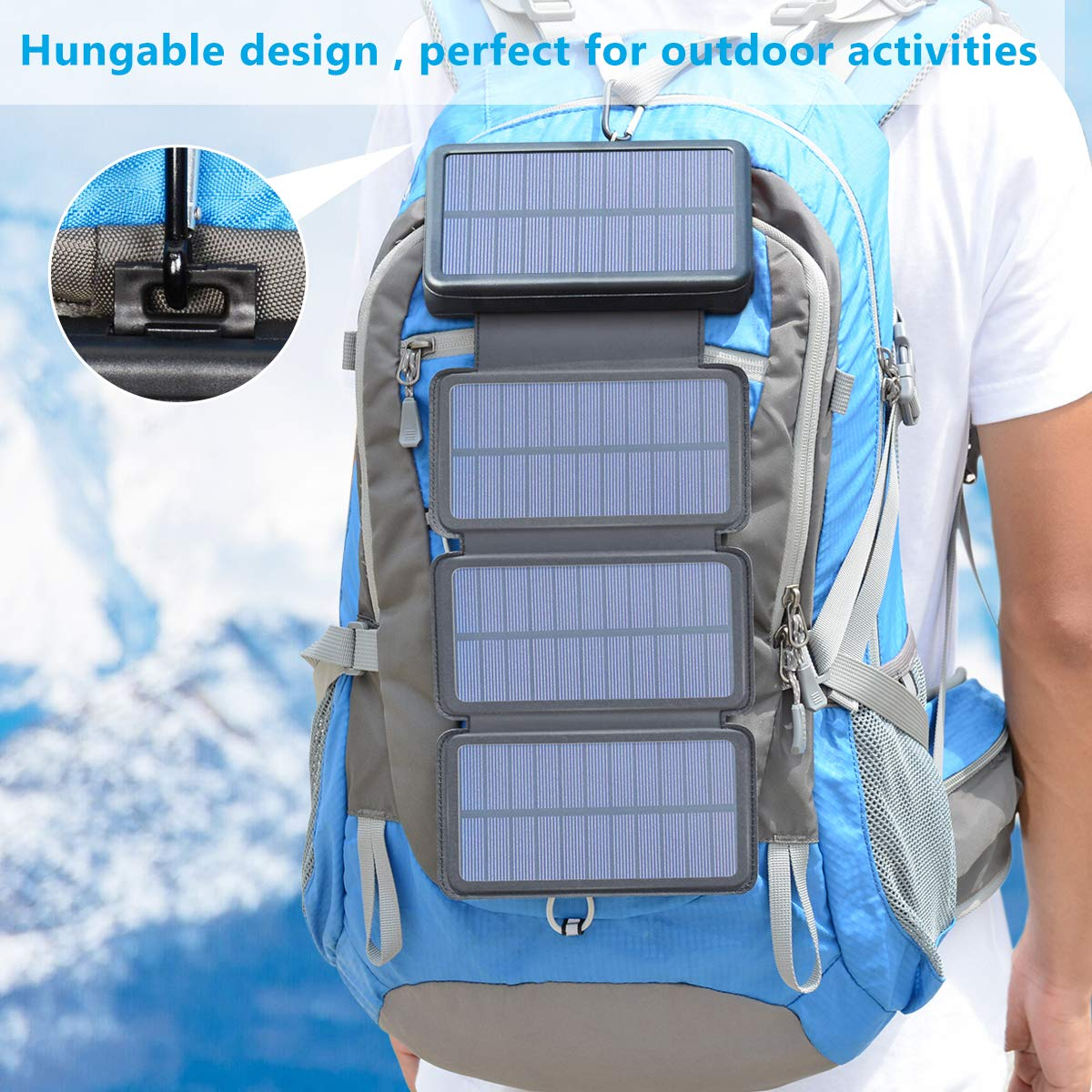 Solar Charger 25000mAh, Riapow Waterproof Power Bank with 4 Solar Panels, Dual USB & Type-C Input for Smart Phones, ipad and Laptop, Outdoor Camping