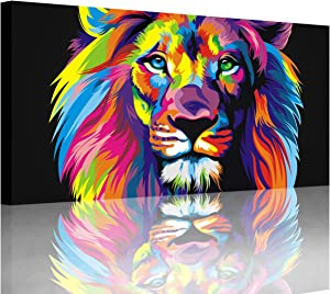 Animal Lion Pictures Wall Decor Art for Bedroom,Colorful Lion Canvas Wall Art Paintings for Living Room,Artwork Stretched and Ready to Hang,Size 20x40inches.