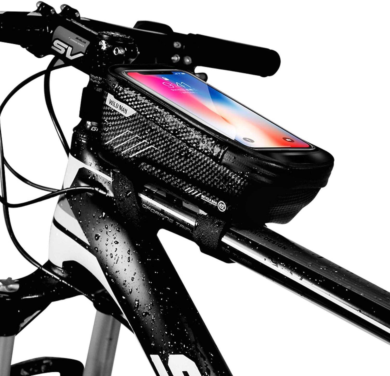 Niluoya Bolsa de Movil Bicicleta Manillar, Soporte Impermeable Accesorios Bicletas Porta Bike Montaña Frame Bag, Táctil de Tubo Superior Delantero, para Teléfono Inteligente por Debajo de 6,5 Pulgadas: Amazon.es: Deportes y aire