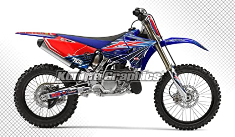 Kungfu Graphics Custom Decal Kit for Yamaha YZ250X 2016 2017 2018 2019  2020, Red Blue, Style 003