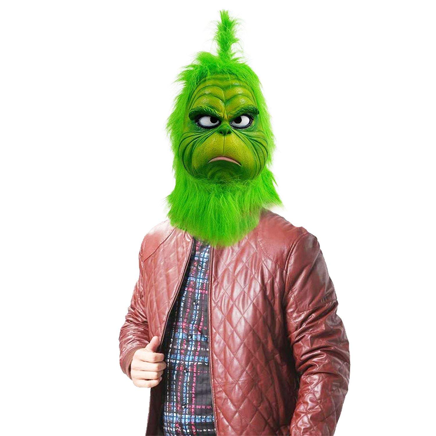 c735989657e Amazon.com: Grinch Mask Costume Face Adult - Deluxe Full Head Latex Mr  Grinch Mask Kids Cosplay (GR-1): Clothing