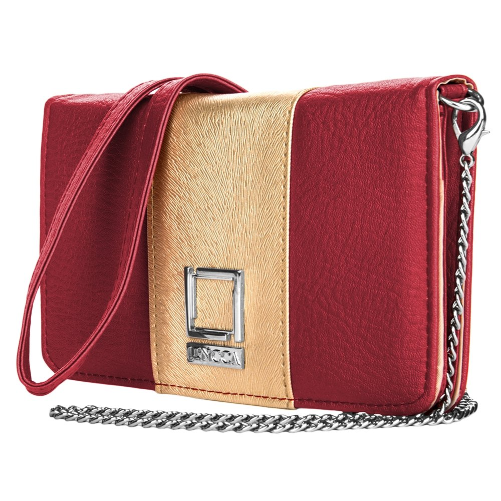 Shoulder Clutch Wine / Gold Wallet for LG Phones