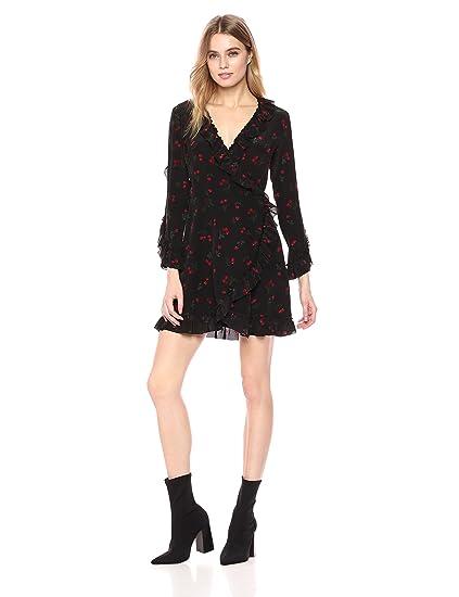 d823e0f4d11 The Kooples Women's Cherry Print Silk Wrap Dress Black, 6: Amazon.co.uk:  Clothing