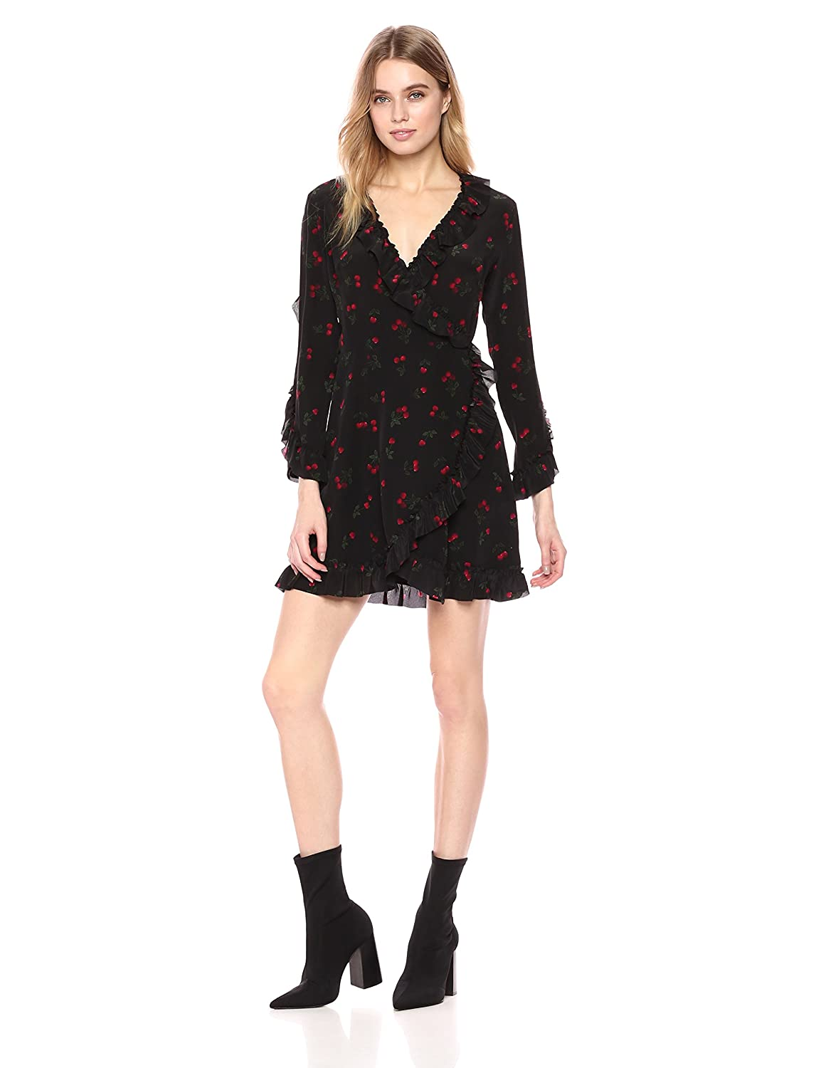 Black The Kooples Womens Cherry Print Silk Wrap Dress Dress