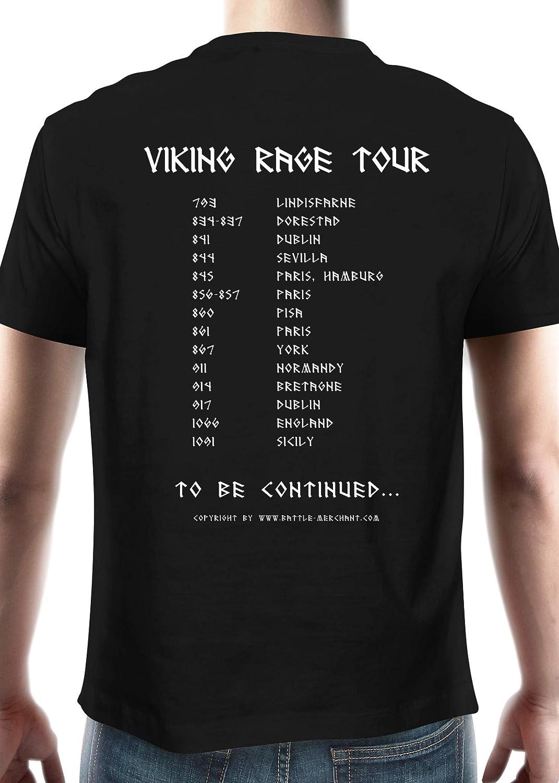 Battle Merchant Camiseta de Viking Rage Tour – con los más Importantes Vikingo – Tour Datos – Manga