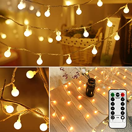 33ft 100LED Bedroom Decor LED Globe String Lights Battery Powered w/Remote  Timer Outdoor/Indoor Ambient Lighting for Christmas Decor, Birthday Party,