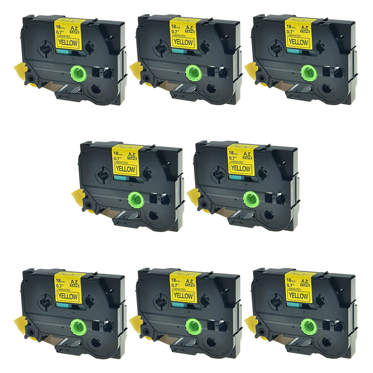 SuperInk 8 Pack TZe-641 TZ641 tze tape 18mm Compatible with Brother P-touch Label Tape Black on Yellow Standard Laminated Tape 3/4 Inch (18mm) x 26.2 ft(8m) SuperInkToner