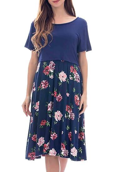 Smallshow Damen Schwangerschaftskleid Umstandsmode Kleide Umstandskleide Stillkleide