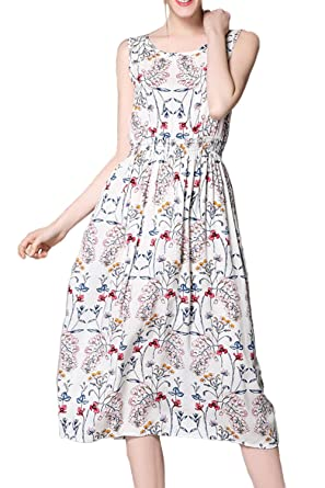 Find Great For Sale Cheap Sale With Paypal Vintage Floral Print Midi Dress - White Warehouse Cheap 2018 Unisex Discount 100% Authentic uCkPkuvR