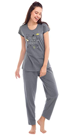 5511ba4f52 ZEYO Women's Cotton Star Print Night Suit (Pastel Cool Grey, Small)