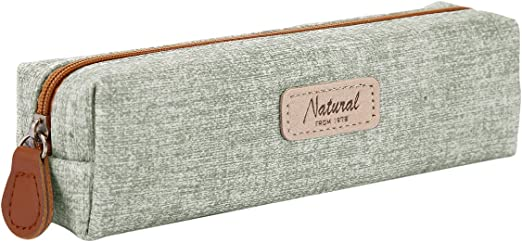 iSpchen Unisex Estuche Pequeño Bolso del Lápiz del Cuadrado Bolso de Cosméticos Caja de Lápices para Chicos y Chicas,19,5 x 4,5 x 5 CM,Material de PU,Verde: Amazon.es: Belleza
