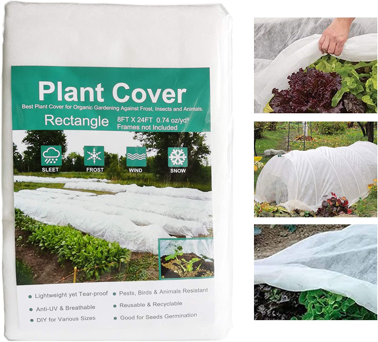 N/P Plant Covers Freeze Protection 0.74oz 8FT x 24FT, Plant Blankets for Cold Weather, Plant Row Cover Garden Covers for Winter Frost Protection
