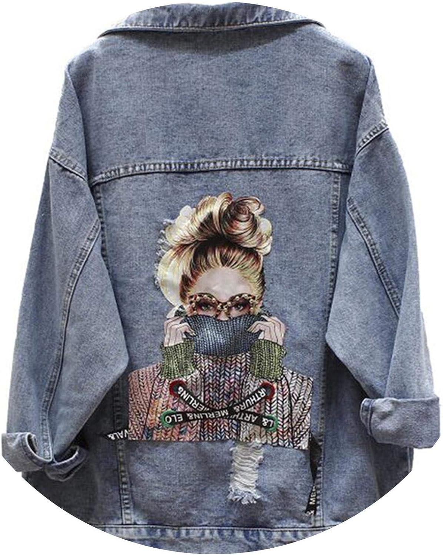 BF Autumn Harajuku Printed Frayed Beading Denim Jacket Loose Casual Jeans Jacket Women Coat Outwear Female Jacket Blue