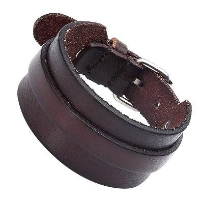 Impresionante Puños ajustables de color marrón oscuro pulsera de piel para hombre (hebilla metálica)