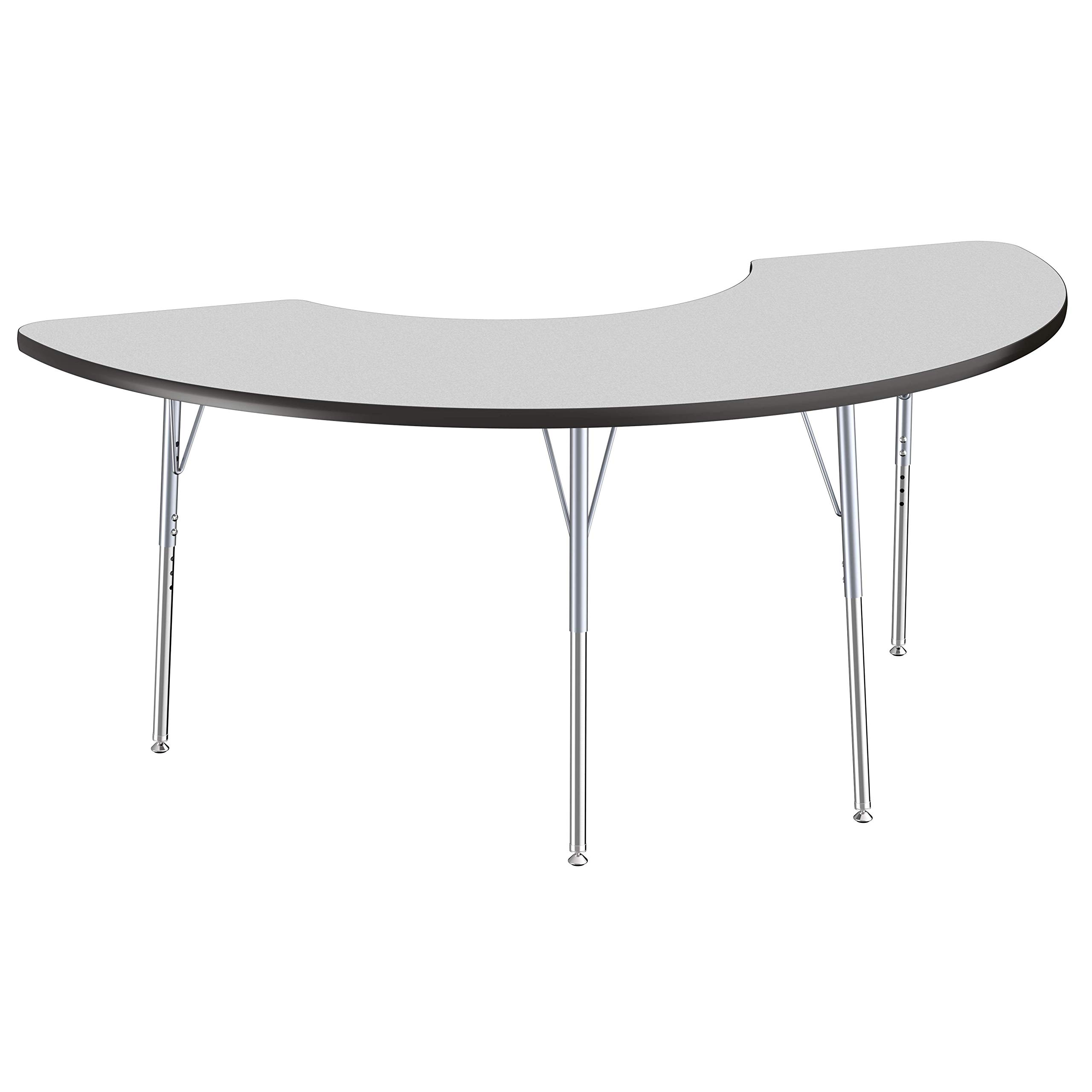 FDP Half Moon Premium Contour Activity School and Office Table (36 x 72 inch), Standard Legs with Swivel Glides for Collaborative Spaces, Adjustable Height 19-30 inches - Gray Top and Black Edge by Factory Direct Partners