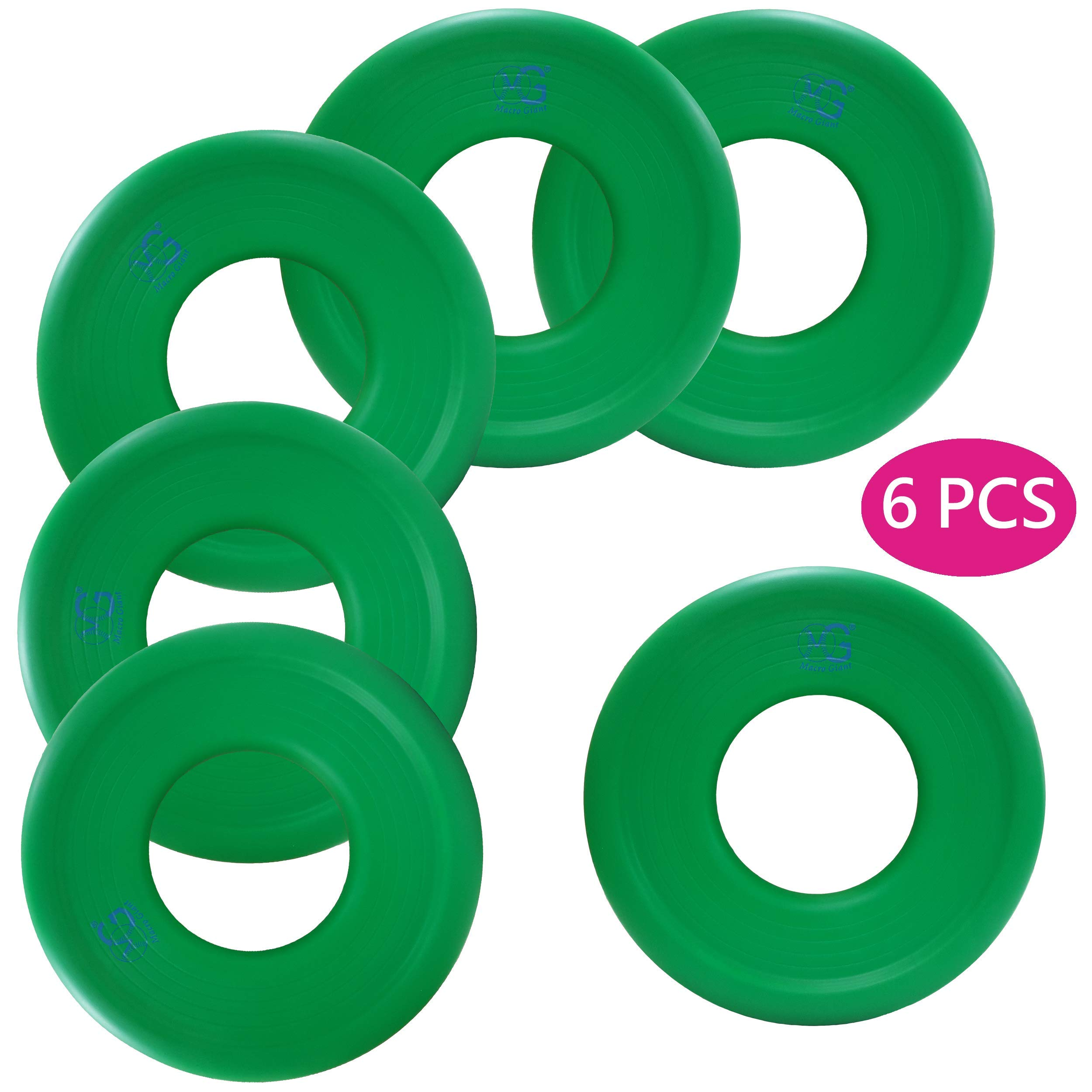 Macro Giant 9 Inch Soft Foam Frisbee Flying Discs, Set of 6, Green, Playground, Kid Sports Toy, Ring Toss Game, Parenting Activity, Outdoor Indoor, Camp Game