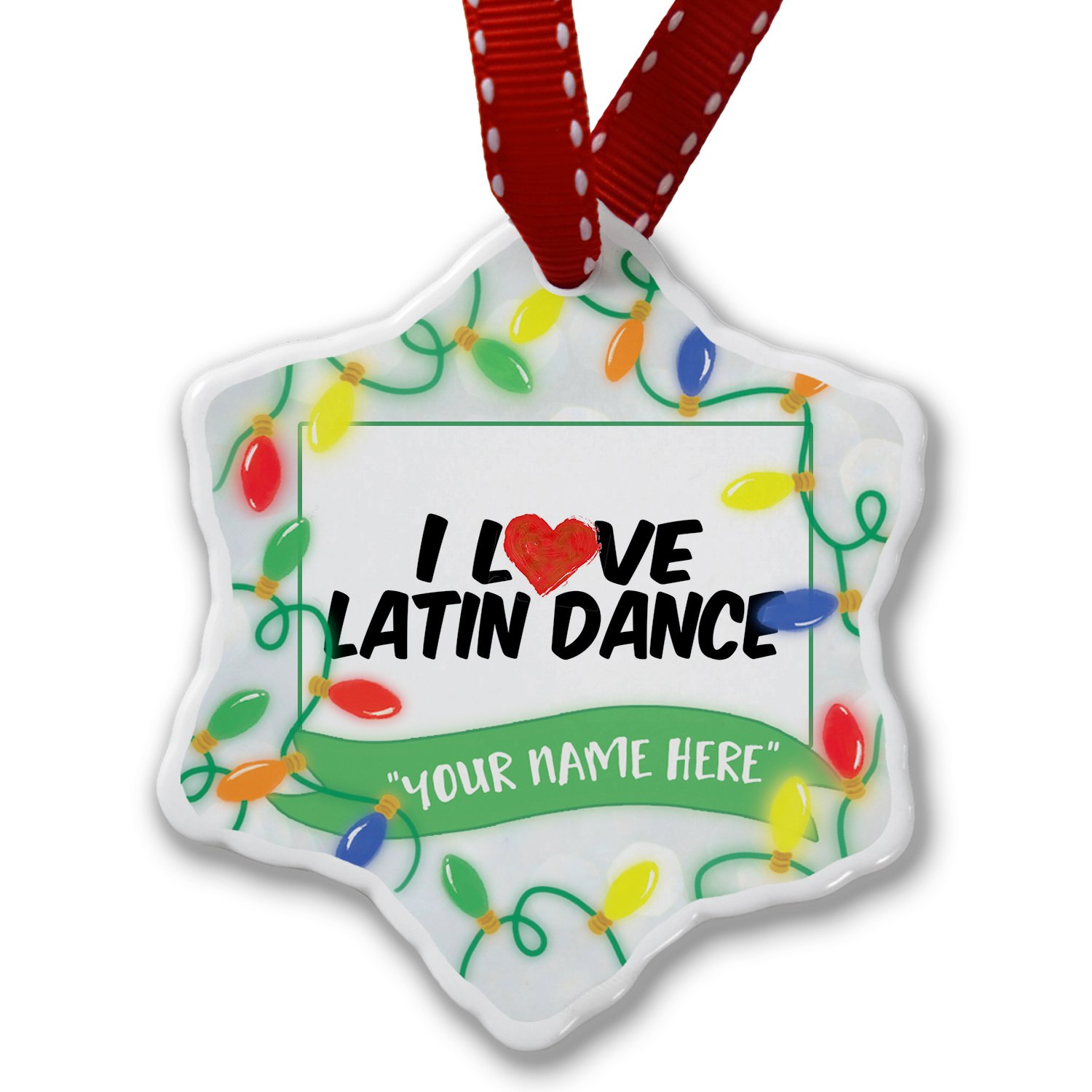 Personalized Name Christmas Ornament, I Love Latin Dance NEONBLOND