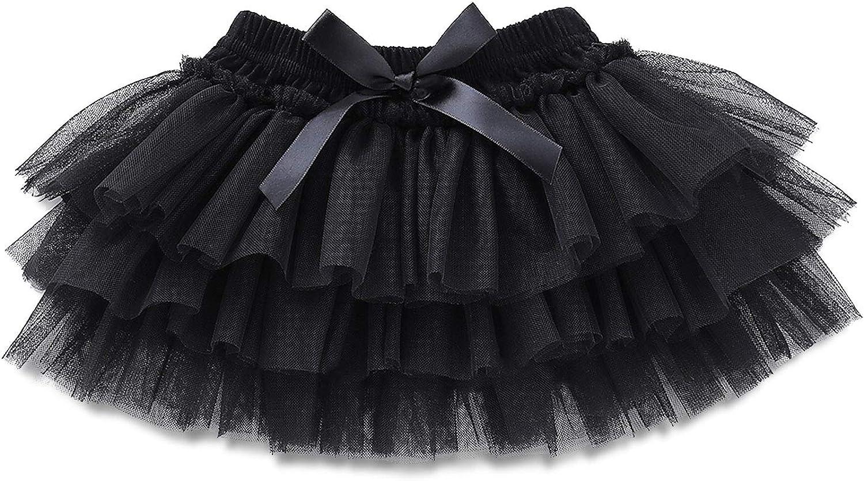 OPAWO Baby Girl Tutu Black for Newborn Infant Toddler Tulle Skirt 0 to 24 Months