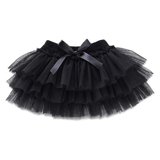 03bb1b18f9 Amazon.com: OPAWO Baby Girl Tutu Black for Newborn Infant Toddler Tulle  Skirt 0 to 24 Months (0-24 Months, Black Bow): Clothing