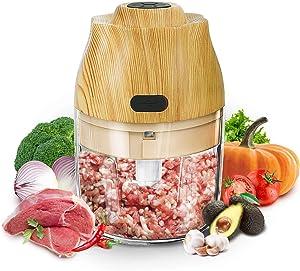 Mini Food Processor, Electric Mini Garlic Chopper, Vegetable Salad Meat Chopper, Waterproof Food Grinder Mincer Mixer, USB Charging 250ml Food Blender Bottom with Non-Slip Rubber Strip, Wood Grain