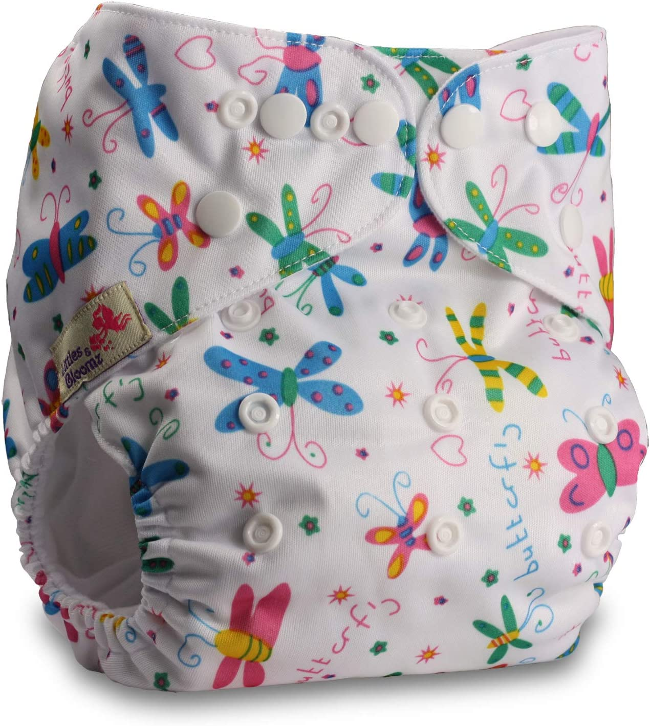 Fastener: Popper Littles /& Bloomz Pattern 35 Set of 1 with 1 Microfibre Insert Reusable Pocket Cloth Nappy