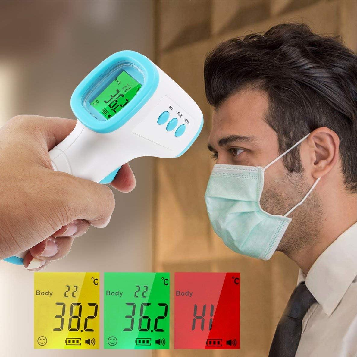 Rouku Term/ómetro infrarrojo sin Contacto Term/ómetro port/átil de Mano Medidas de Alta precisi/ón Temperatura Corporal