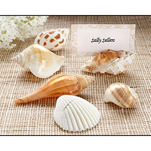 Christmas Tablescape Decor - Genuine all natural seashell place card holders - Set of 6 by Kate Aspen