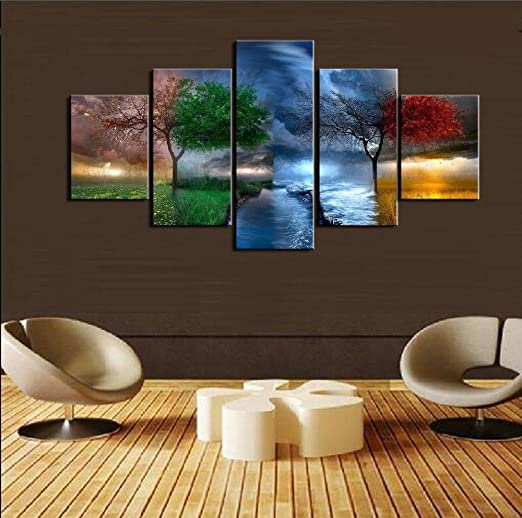 Amazon Com 5pcs Framed Four Season Canvas Prints 5 Piece Canvas Season Nature View Artwork Canvas Tree Color Paintings On Canvas Wall Art For Office And Home Wall Decor Small 20x35cmx2 20x45cmx2