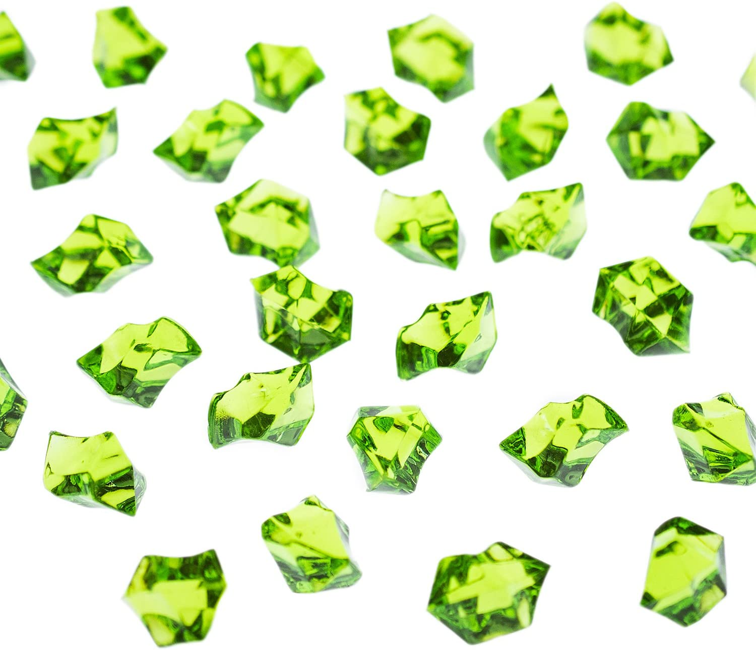 Super Z Outlet Acrylic Color Ice Rock Crystals Treasure Gems for Table Scatters, Vase Fillers, Event, Wedding, Arts & Crafts, Birthday Decoration Favor (190 Pieces) (Apple Green)