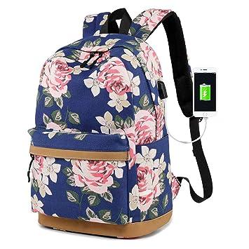 Mochila para Chicas, Moda Floral Colegio Bolsas Estudiante Escuela Mochila con USB Puerto de Carga Ordenador portátil Mochila para Mujeres: Amazon.es: ...