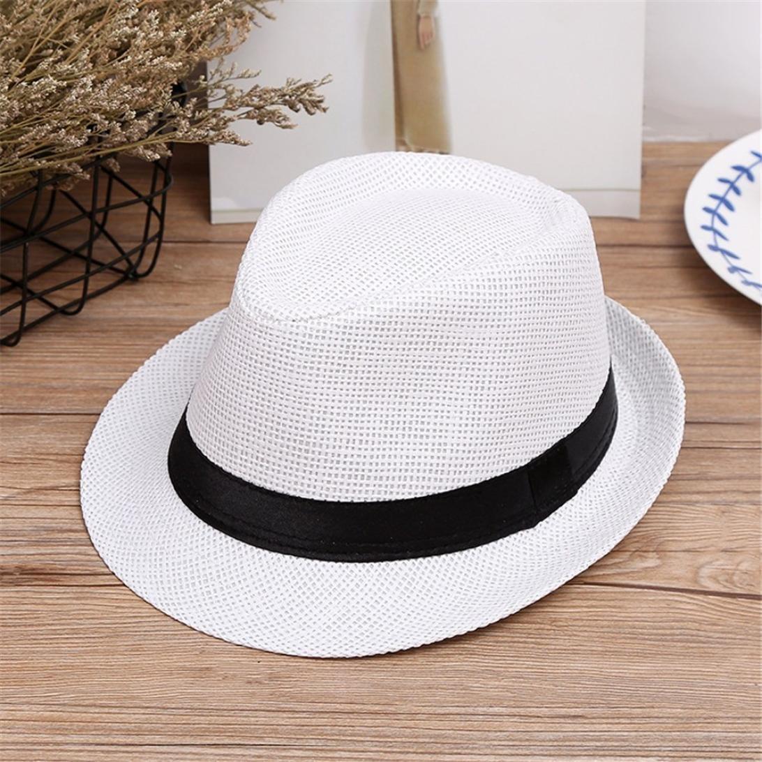 FeiliandaJJ Baby Boys Hats Kids Toddler Children Summer Breathable Beach Straw Jazz Panama Trilby Fedora Hat Caps