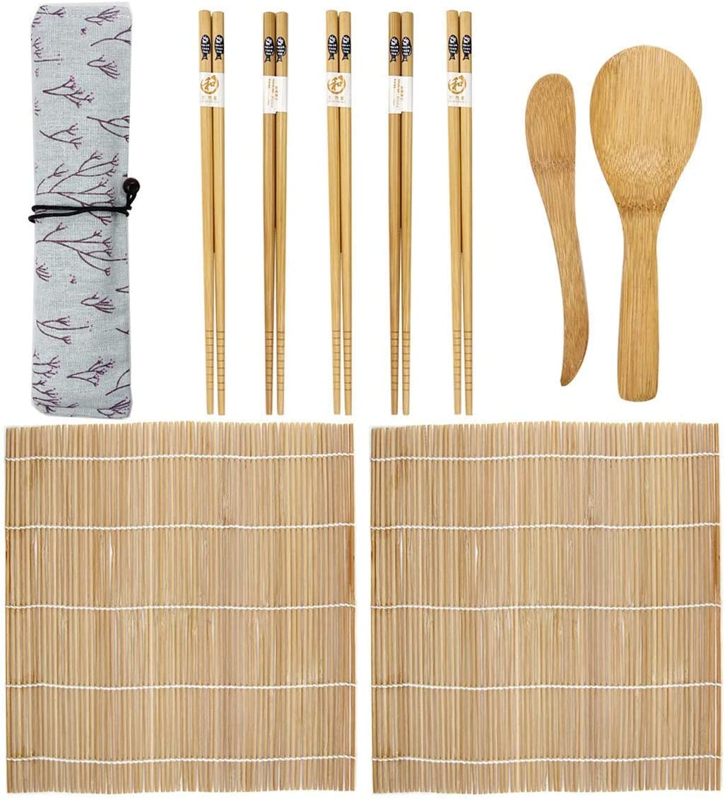 9 Pieces Bamboo Sushi Making Kit, BetterJonny Sushi Making Set Includes 2 Rolling Mats 5 Chopsticks 1 Paddle 1 Sushi Blade Sushi Making Kit Family Office Party Homemade Sushi Gadget for Food Lovers