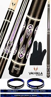product image for Valhalla VA725 by Viking 2 Piece Pool Cue Stick Linen Wrap, Purple HD Graphic Transfers, Nickel Silver Rings, High Impact Ferrule, 18-21 oz. Plus Billiard Glove & Bracelet