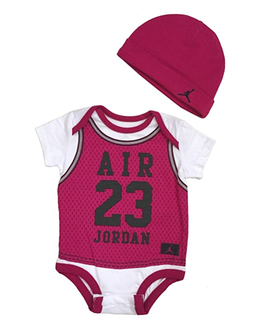 pretty nice e1988 d48ee Nike Jordan Infant New Born Baby Bodysuit and Cap 2 Pcs Layette Set (0