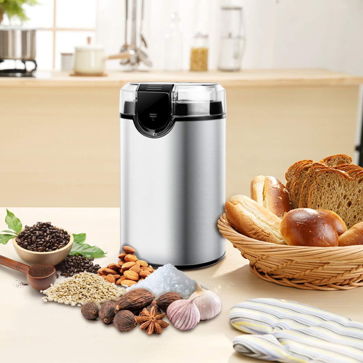 Morpilot Moulin à Café Électrique 150W,Broyeur Simple à Graines de Café ,Soja , Poivre, Épices, 75 g de Capacité et Lames en acier inoxydable 304.