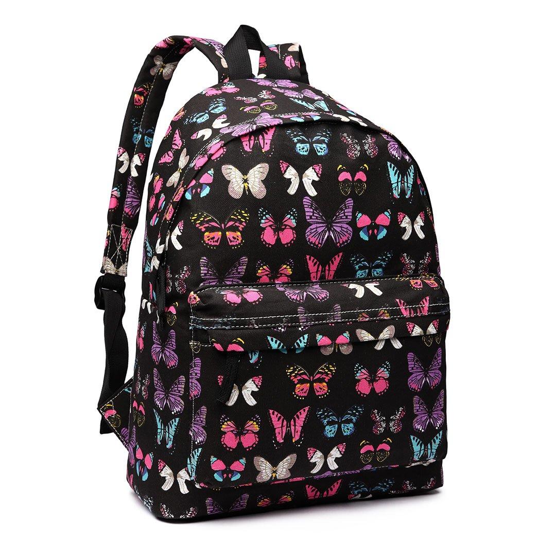 Butterfly Flower Polka Dot Scottie Dog Retro Fashion Backpack Rucksack  (Butterfly Black)  Amazon.co.uk  Shoes   Bags 113f910d55