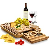 Bambüsi Premium Bamboo Cheese Board - Charcuterie Serving Board Platter and Knife Set with Hidden Slid-Out Drawer - Perfect C