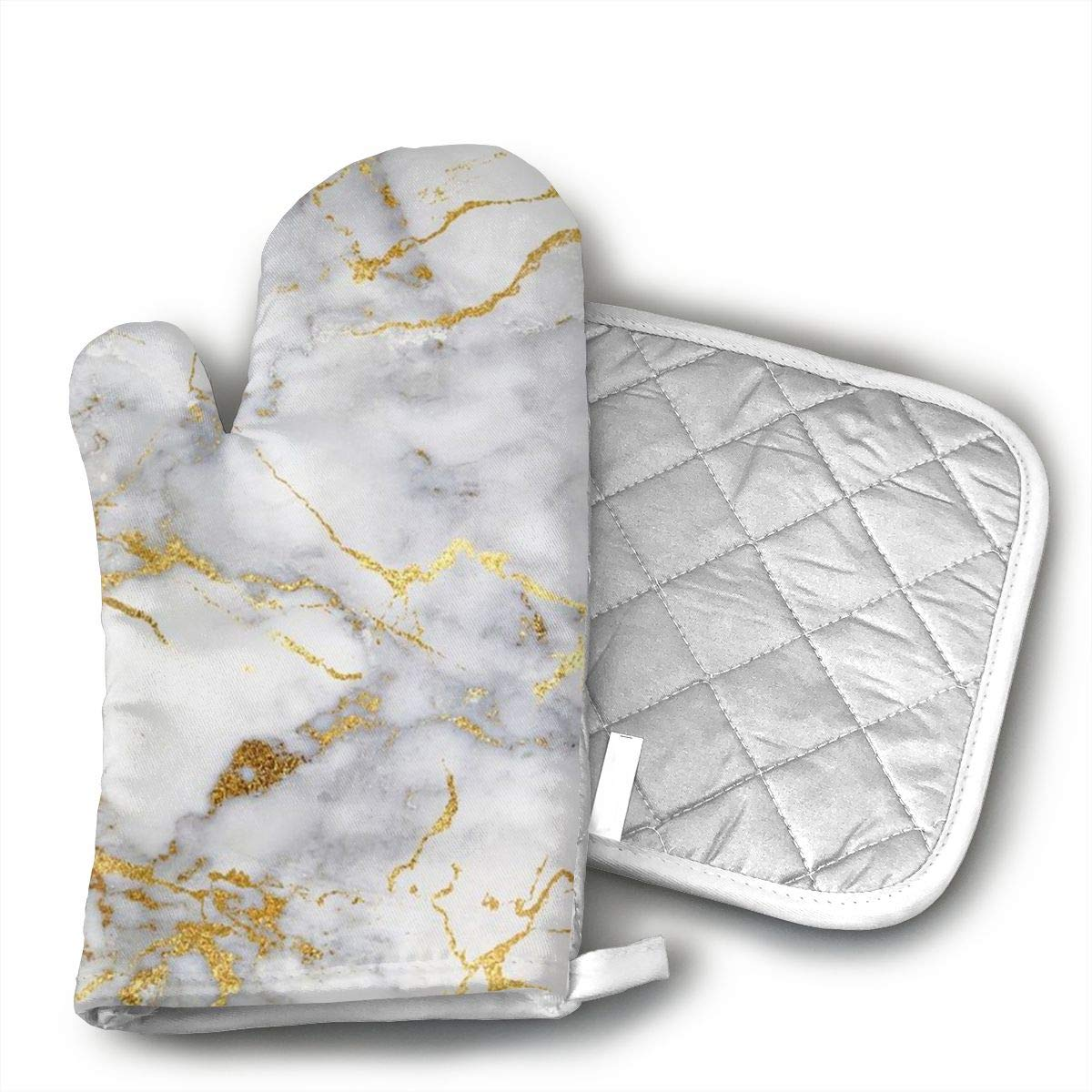 BenteLi Gold Marble Oven Mitts,Professional Heat Resistant Microwave Oven Insulation Thickening Gloves Soft Inner Lining Kitchen Cooking Mittens