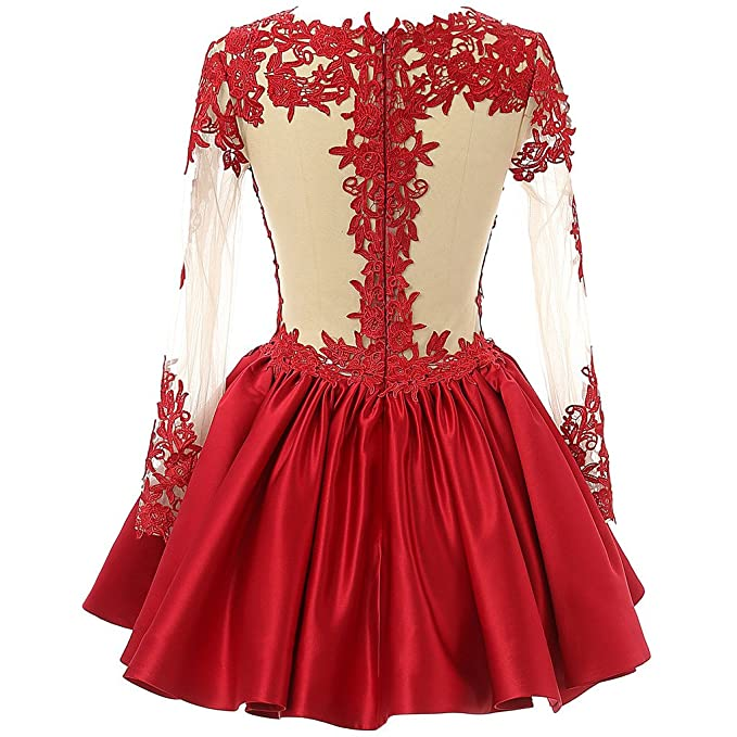 Amazon.com: CuteShe Womens Short Lace Homecoming Prom Dresses With Long Sleeves: Clothing