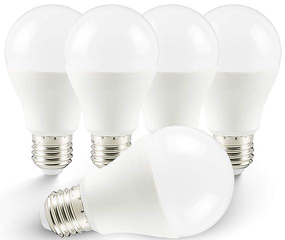 5 x Bombilla LED E27 A60 5 W cálido blanco 3000 K 370Lumen 160 ° (