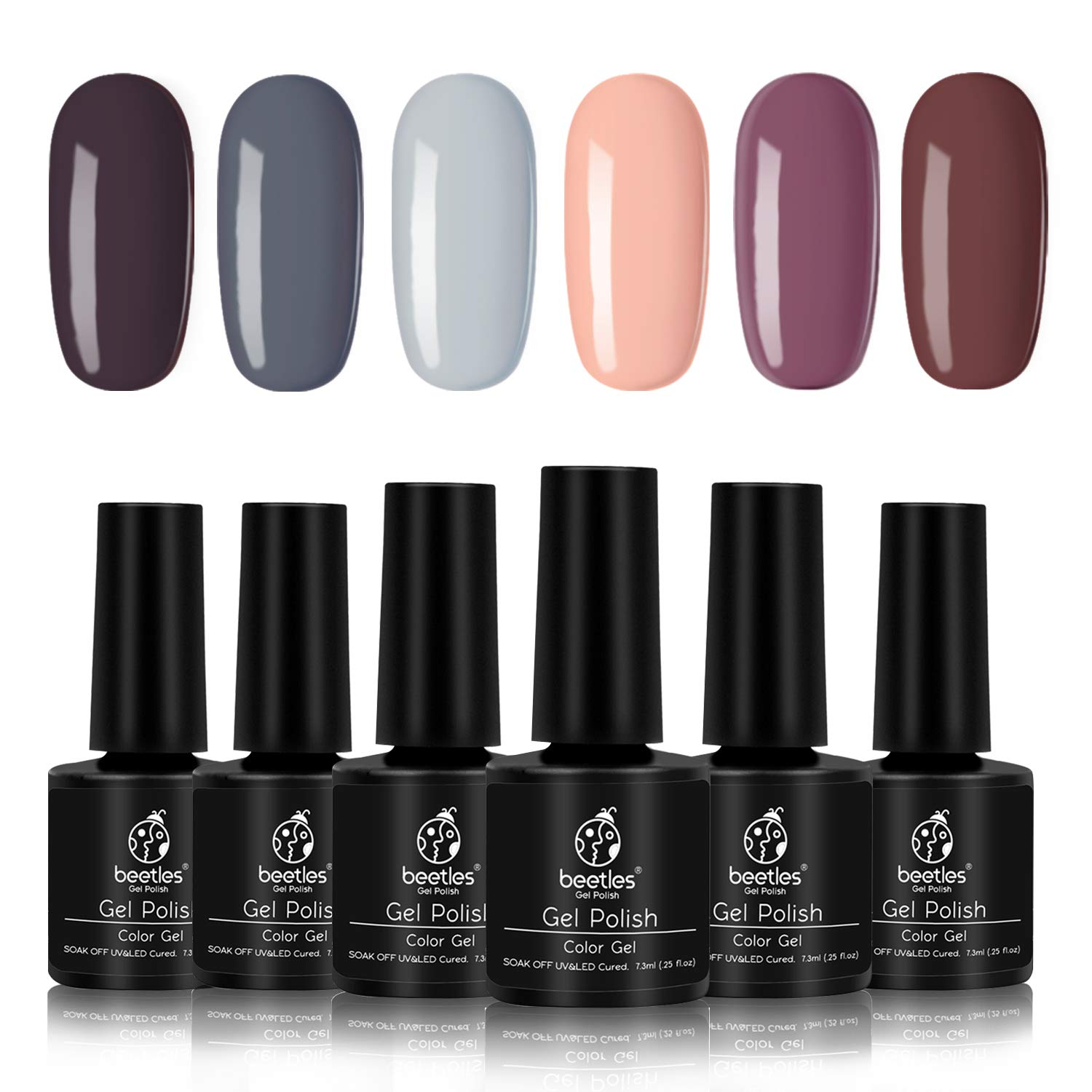 Beetles Gel Polish Set - Nude Gray Series 6 Colors Gel Nail Polish Kit Nail Art Gift Box, Soak Off LED UV Nail Gel, 7.5ml Each Bottle by beetles Gel Polish