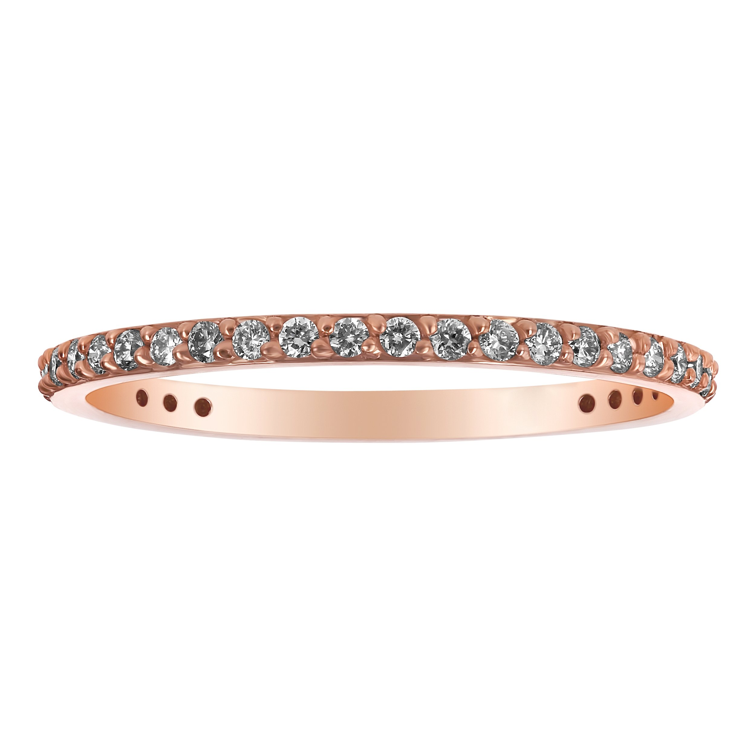 14k Rose Gold Diamond Wedding Stackable Band Ring (1/3 cttw, H-I Color, I1 Clarity) Size 7